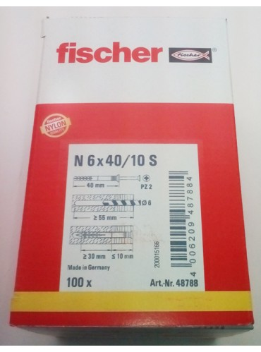 Fischer N 6X40/10 S (100) Καρφωτό Βύσμα (Κουτί 100 Τεμαχίων)